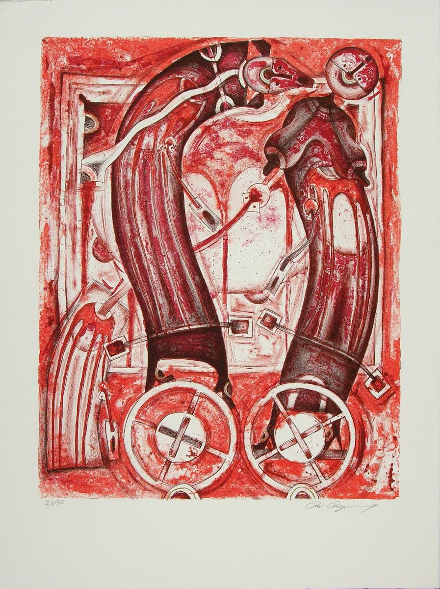 Rolando Rojas,  Amantes sobre Ruedas  (Ed. 42/50), Lithograph, 30 x 22 in.