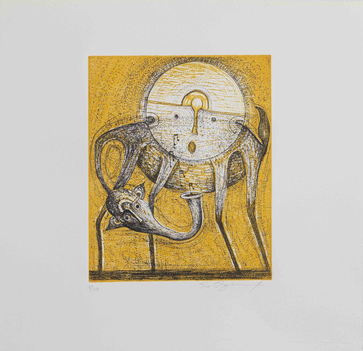 Rolando Rojas, La Carga, Lithograph , 15.7 x 17.7 in.