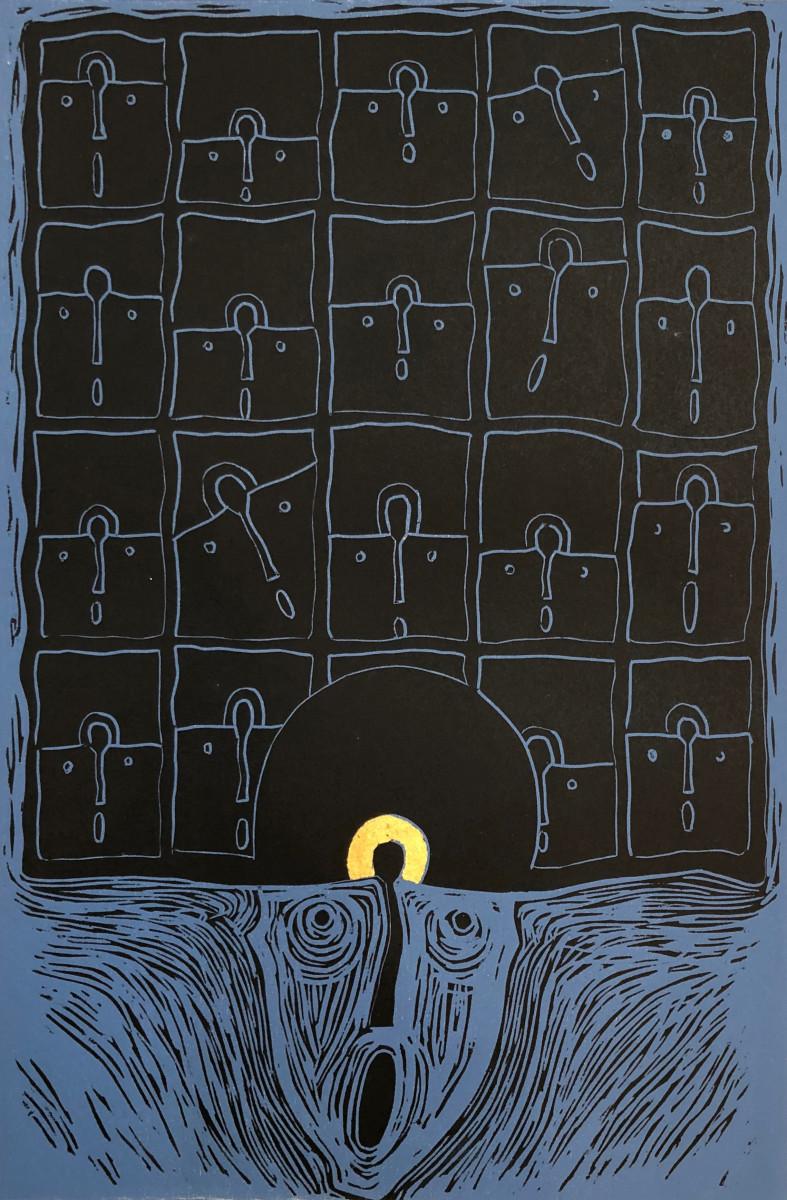 Rolando Rojas,  El Pensador , 2018. Woodcut, 23.81 x 15.75 in.