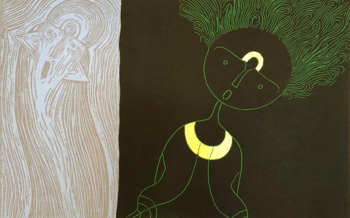 Rolando Rojas,  El Idilio , 2018. Woodcut, 15.74 x 23.81 in.
