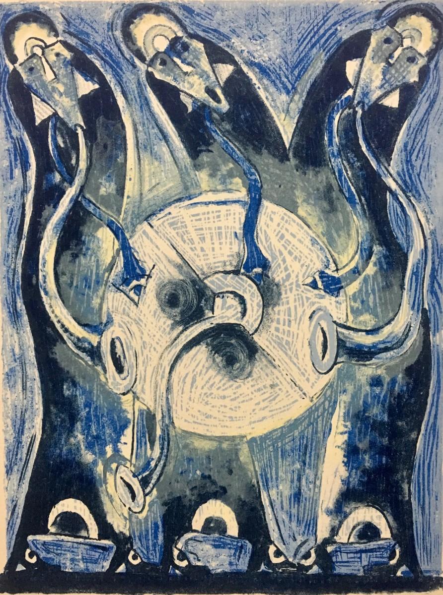 Rolando Rojas,  Trio Enlunado , 2018. Metal Engraving, 9 x 6.6 in.
