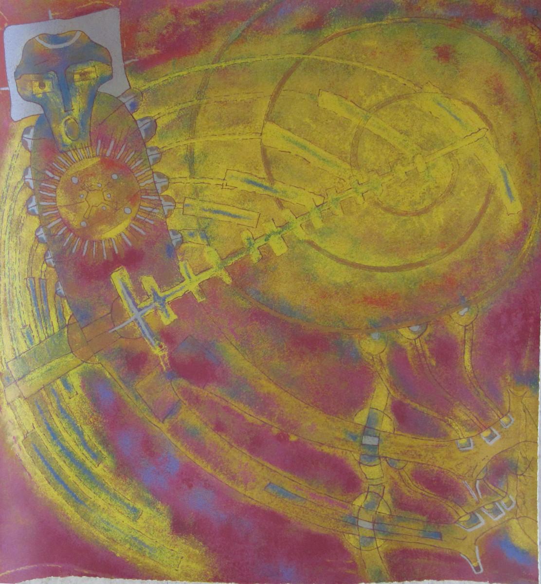 Rolando Rojas, Angel, Metal Engraving, 19.5 x 19.5 in.