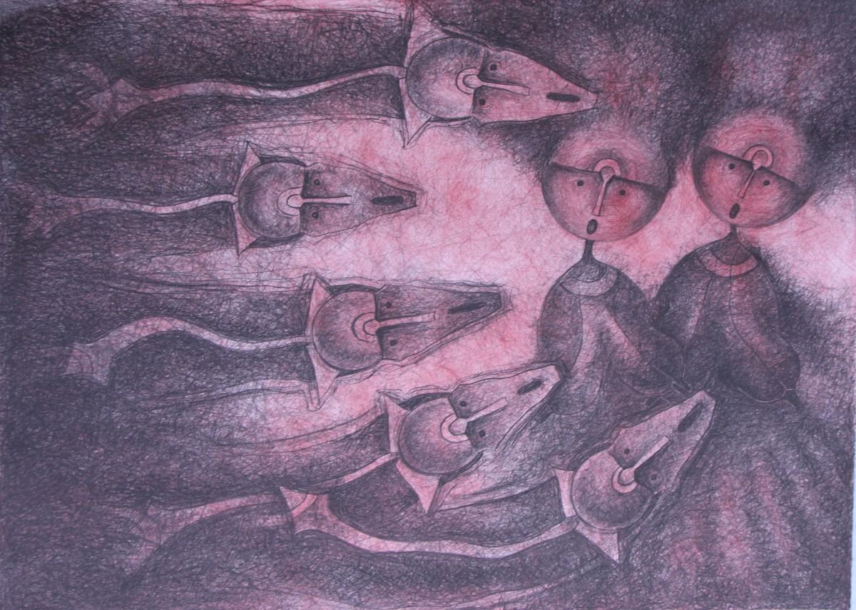 Rolando Rojas,  Quinteto de Cortejo , Lithograph, 22 x 30 in.