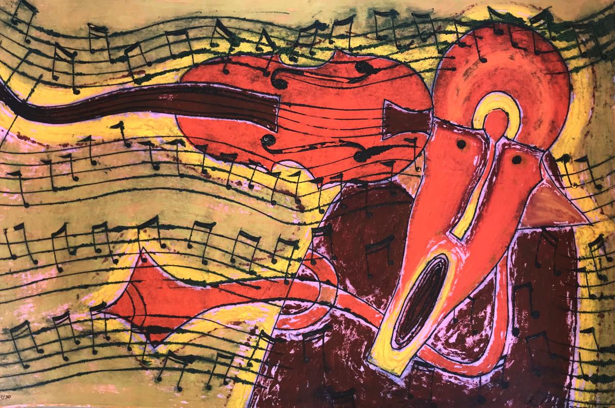 Rolando Rojas, El Violinista, Oleograph, 47.5 x 31.5 in.