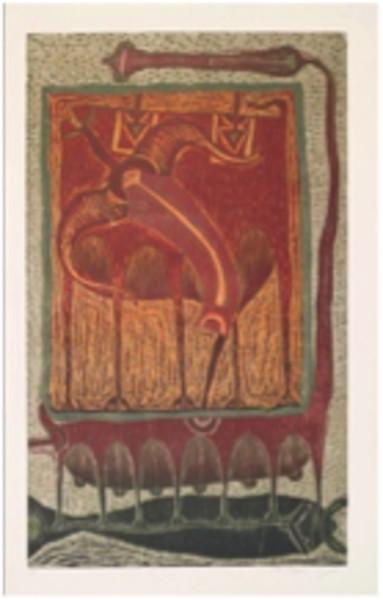 Rolando Rojas,  La Carga , Woodcut, 47.2 x 31.4 in.