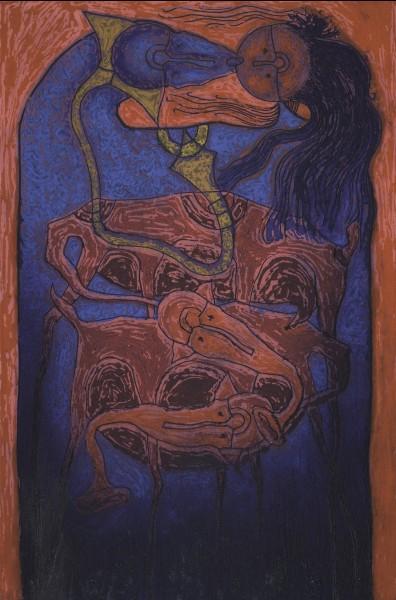 Rolando Rojas,  El Beso , 2018. Oleograph, 47.5 x 27.5 in.