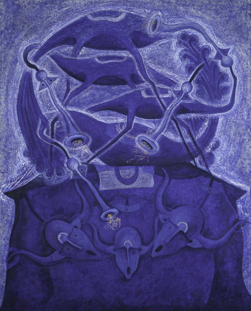 Rolando Rojas.  Serenata en Azul , Marble Dust and Oil on Canvas, 59 x 47.2 in.