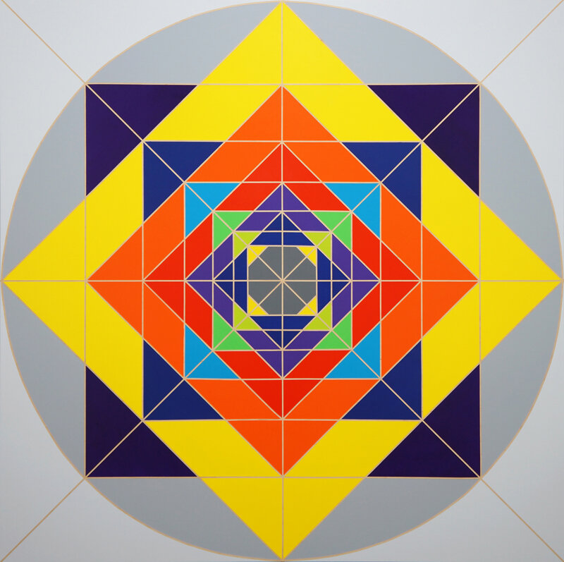 Fariba Abedin,  Geometry #90 , Acrylic on wood panel 45x45 4-2014.