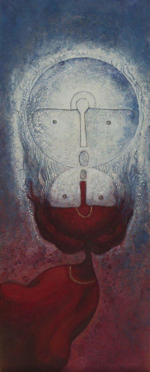 Rolando Rojas,  Beso de la Luna/Moon Kiss,  Marble dust and oil on canvas, 39.5 x 15.75 in.