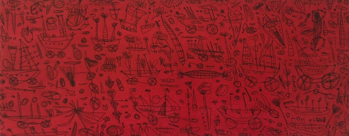 Didier Mayés,  La Playa , Metal engraving - Aquatint7.5 x 19.5 in.