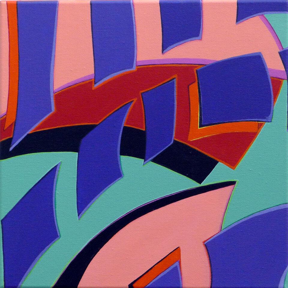 Kelyne Reis, Fragmentation 3.1, Acrylic on canvas. 12 x 12 in.
