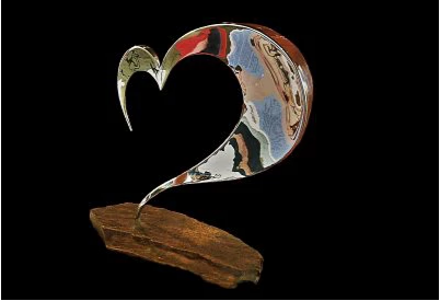 Ryan T. Schmidt, Heart, Polished Stainless Steel Sculpture, Natural Stone.