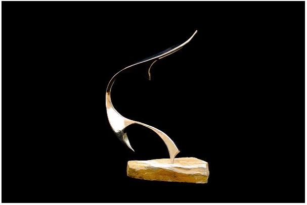 Ryan T. Schmidt,  Eternal Listening ,Polished Stainless Steel Sculpture, Natural Stone