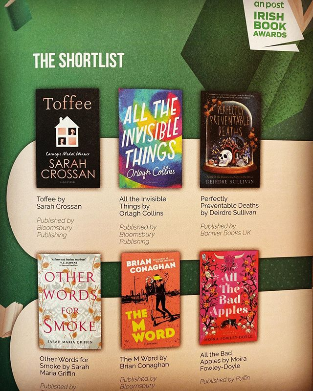 Absolutely thrilled that #AllTheInvisibleThings has been nominated for an Irish Book Award! And to be in amongst these YA beauts too. ☘️ ‬ ‪#APIBAS‬ ‪#ReadersWanted‬