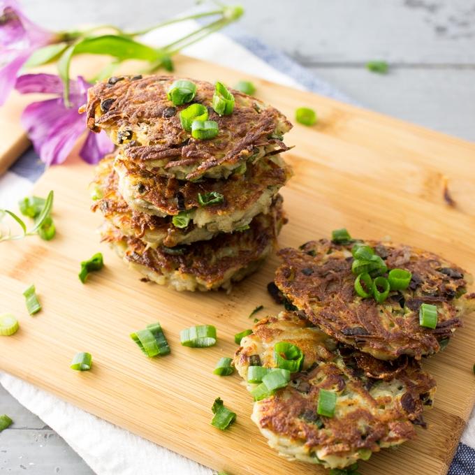 Rosemary & Garlic Latkes w. Crunchy Scallions