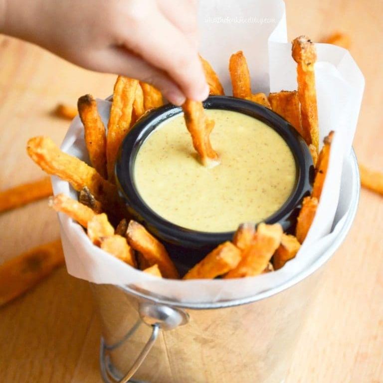 Baked Sweet Potato Fries & Maple Mustard Sauce