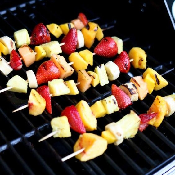 Grilled Fruit Skewers with Ice Cream
