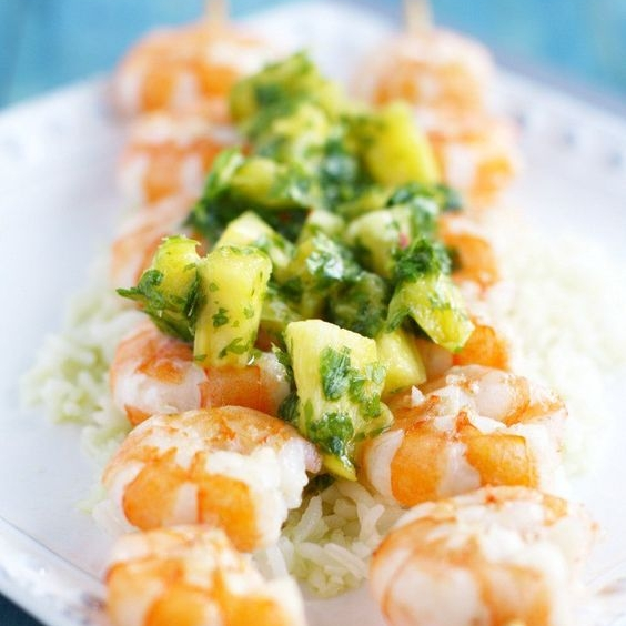 Grilled Shrimp w. Pineapple Chimichurri