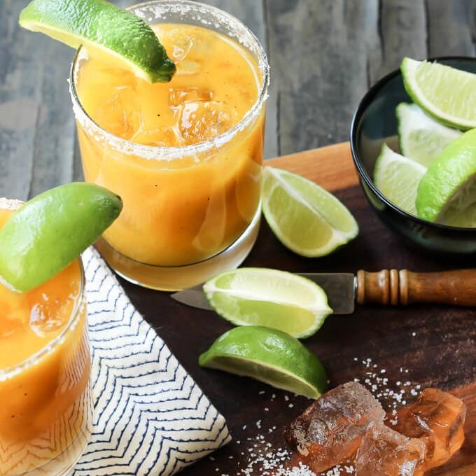 Grilled Mango Habanero Margaritas