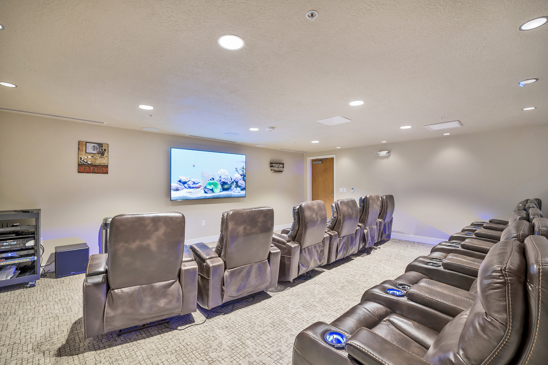Crescent Senior Living in Utah with a movie theater.