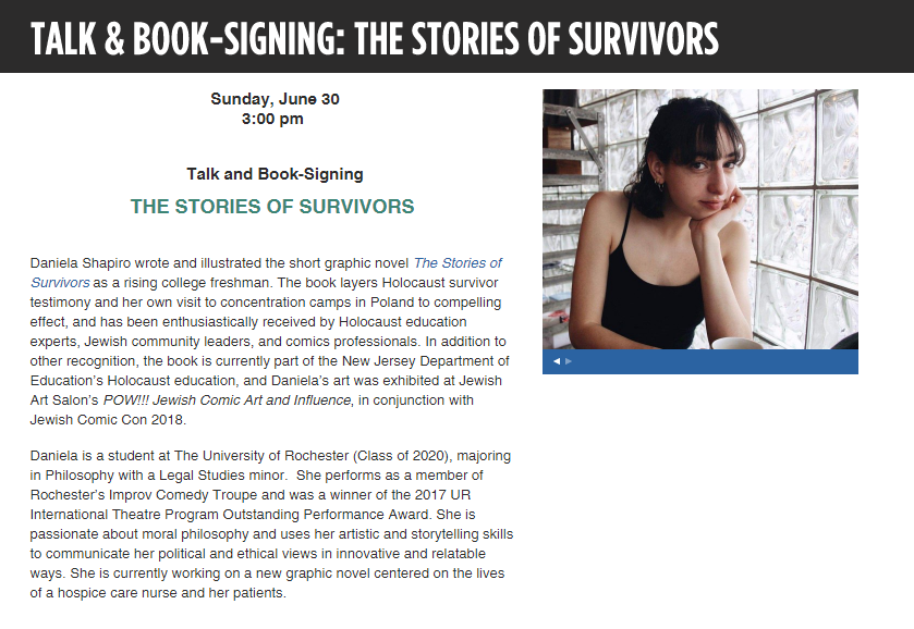 Daniela presented at the Los Angeles Museum of the Holocaust on June 30!    http://www.lamoth.org/news--events/events/shapiro