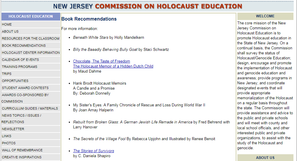 The Stories of Survivors is Recommended by the New Jersey Commission on Holocaust Education   https://www.nj.gov/education/holocaust/books/