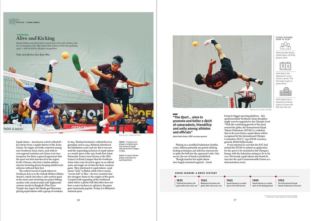 Tear Sheet from Asian Geographic Magazine 2018 Issue 3. Feature Story on Sepak Takraw. (Page 1/2)