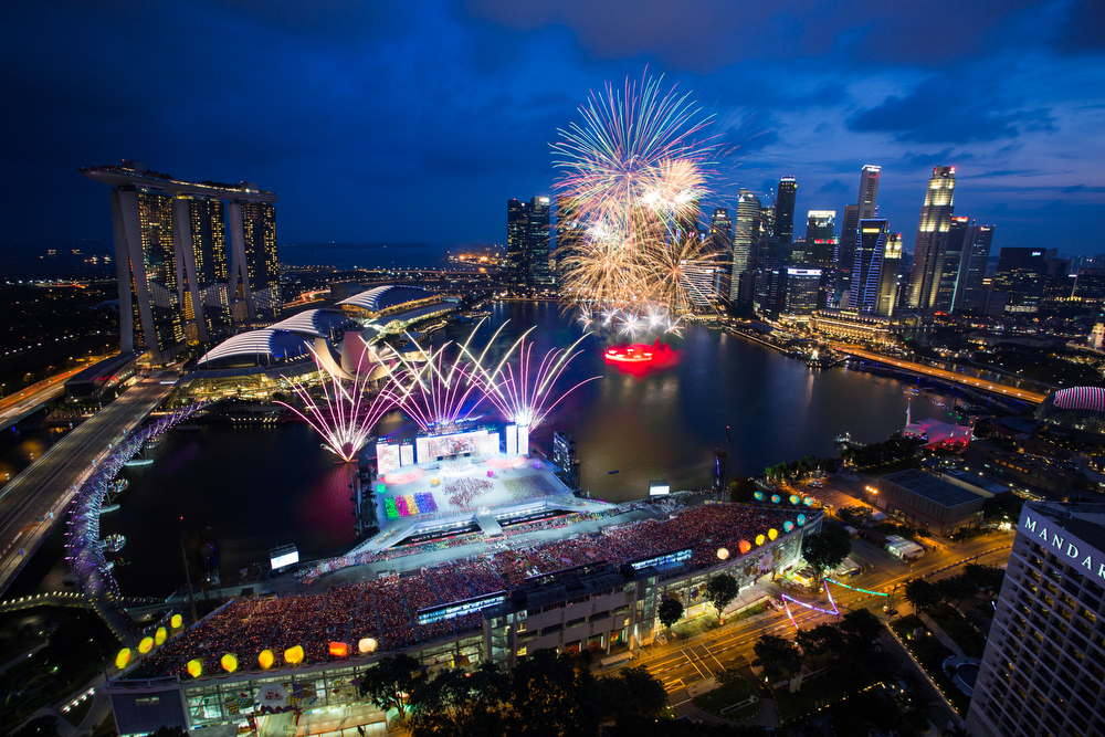 Singapore's skyline during the National Day Parade