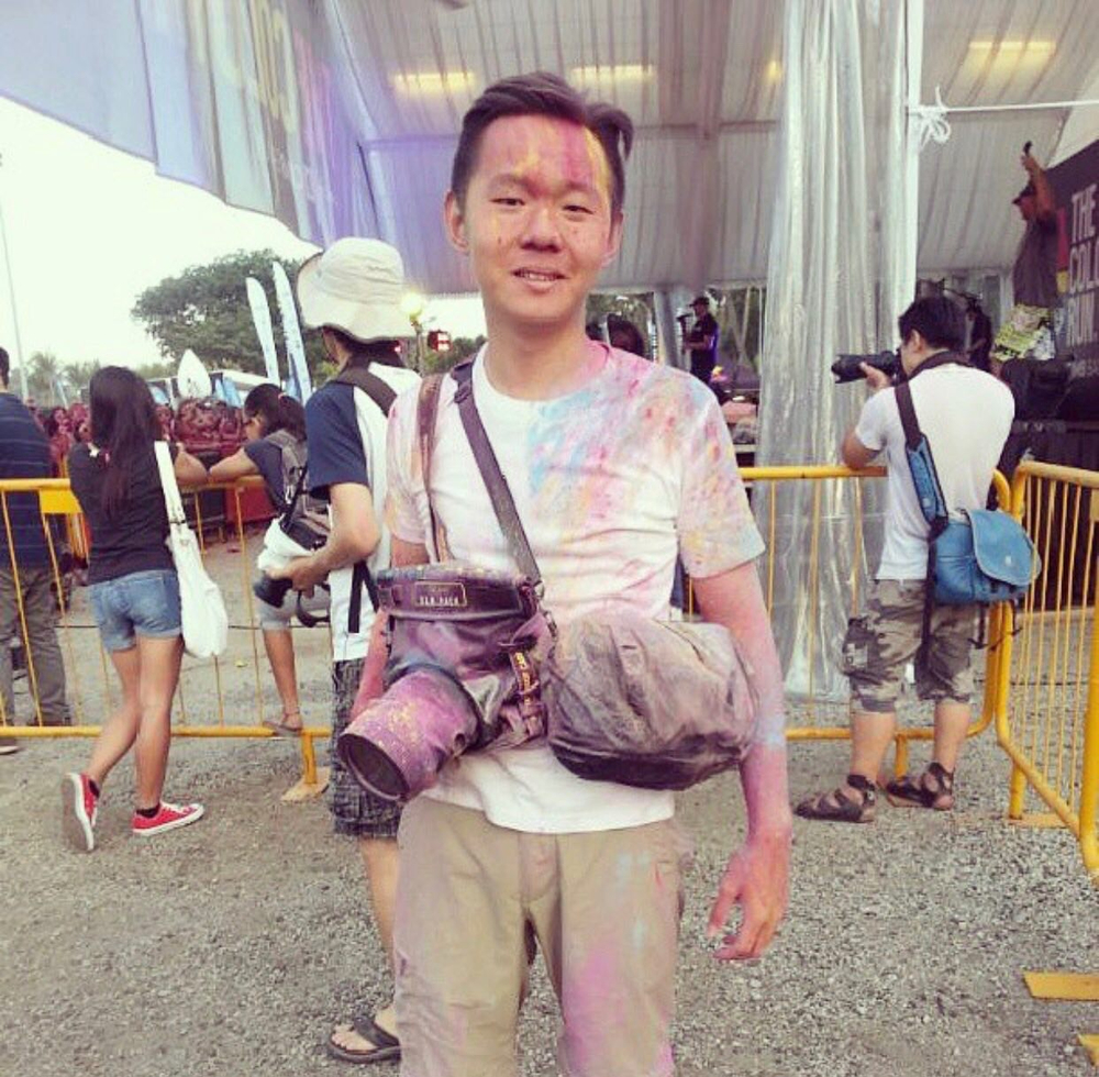 Me during the colour run in Singapore. Always ready to get the photos the clients need.