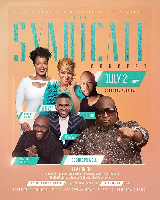 🔥🔥 TAMPA 🔥🔥 @gregbmusic & The Fam will be in the area // JULY 2nd 2019 // 730p    You don't want to miss this event!! #GodWILL #theSYNDICATEconcert  #DoobiePowell #MarquisJelks #COGIC #AIM2019 #BPAMediaGroup @marquisjelks @doobiepowell