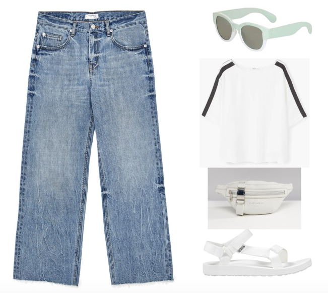 Jeans (your  mom jeans'll  do just fine),  Sunglasses ,  Top ,  Fanny Pack ,  Tevas  (slides only available now! darn!)