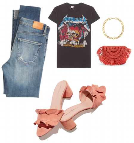 Jeans , Thrifted tshirt (or  these $$ ones, which seem nuts ),  Necklace ,  Clutch ,  Slides