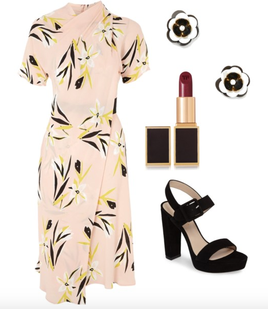 Dress  (I linked to this in  this post ),  Studs ,  Lipstick ,  Shoes