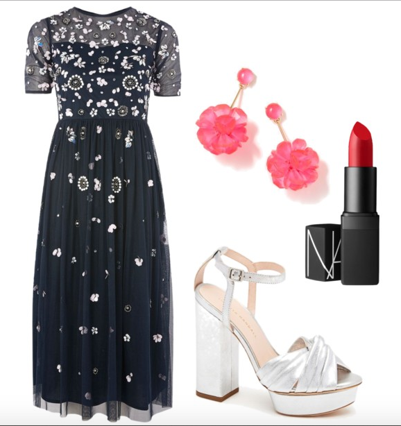 Dress ,  S  imilar earrings ( or these ),  Lipstick ,  Shoes