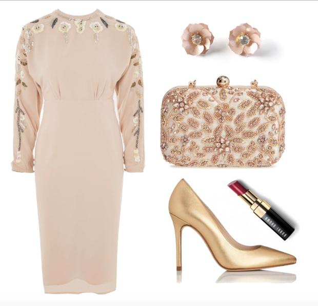 Dress,  Similar studs ,  Similar shoes ,  Lipstick ,  Bag