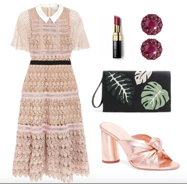 Dress ,  Lipstick ,  Studs ,  Bag (not-so-similar, sorry) ,  Shoes