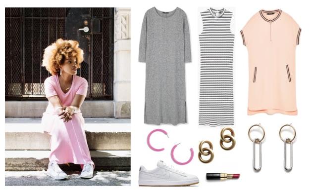 1. Latonya's Pink Dress  2.  Gray ribbed dress $13 3.  Halter ribbed dress  4.  Pink zip dress  4.  Pink lucite earrings  5.  Gold hoop earrings  6.  Gold and silver earrings  7.  Tennis shoes  8.  Lipstick