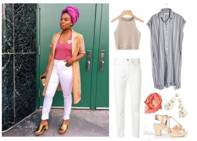 1.  Halter  , or  this one 2.  Long tunic 3.  White jeans 4.  Scarf  5.  Earrings  6.  $$Clogs , or  these