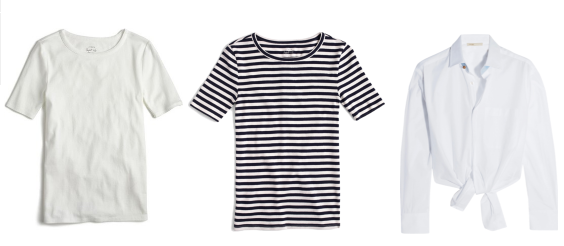 3 tops: 1.  My favorite white tshirt  2.  Striped tshirt  3.  Tie-front blouse