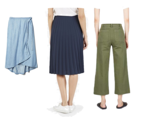 Bottoms: 1.   Denim midi skirt  (only in XS) or  this one  or  this one  2.  Pleated skirt  3.  Green chinos  or  these trousers are so good