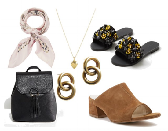 Accessories 1.  Scarf  2.  Backpack  3.  Gold heart necklace  4.  Earrings  5.  Black slides  6.  Suede mules