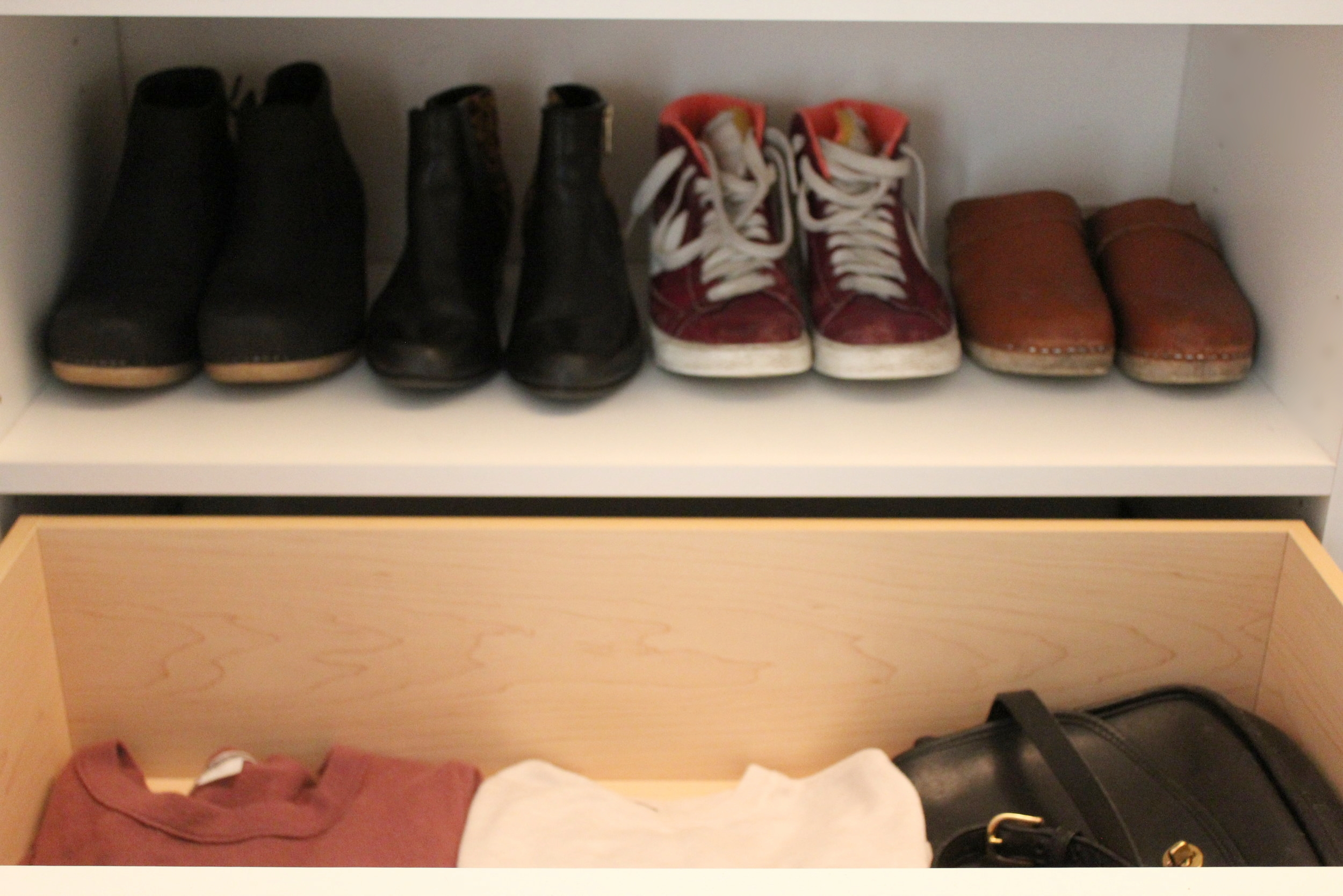 Excuse my dirty clogs!!  Look at the space in that sweater drawer!