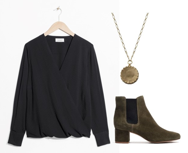 Black silk shirt (this one's already tucked in and unbuttoned!) ,  Pendant necklace ,  Chelsea boots