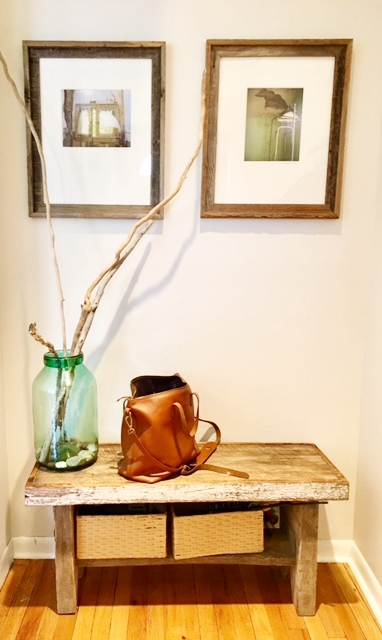 Bag , Antique bench from Shawano, WI (Kelsey vacations here), Branches and pebbles from Illinois Beach State Park.