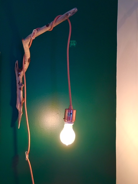 The lamps are Kelsey's creation! From Beechwood branches found at Illinois Beach State Park,  Cords