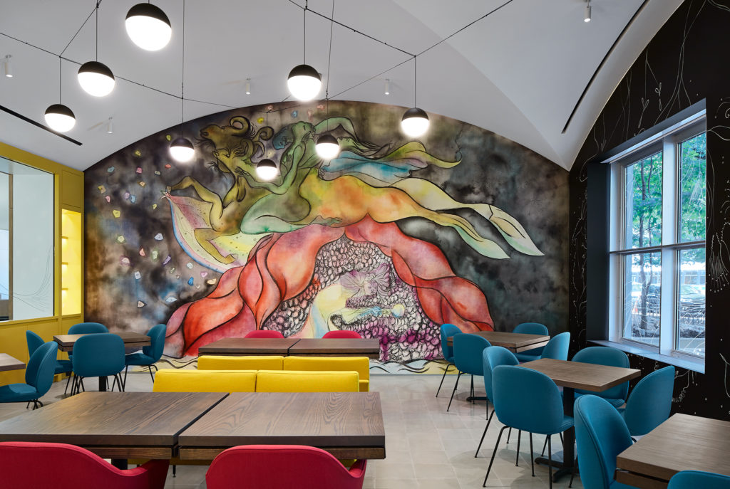 The interior of MARISOL, designed by Chris Ofili, artist, yes, he's also behind all that elephant dung art.