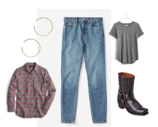 Jeans ,  Soft t-shirt ,  Flannel shirt ,  Frye boots ,  Hoop earrings