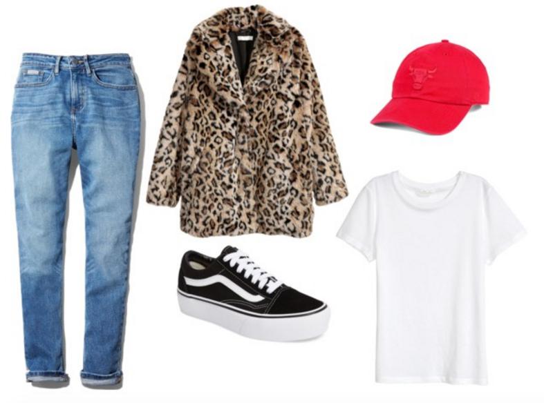 CK Jeans ,  Leopard (faux) fur or  this one ,  Platform Vans ,  White tshirt ,  Bulls hat