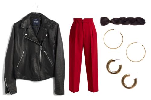 Leather jacket ,  wide-leg pants ,  hair extension ,  large hoop s,  medium hoop  s