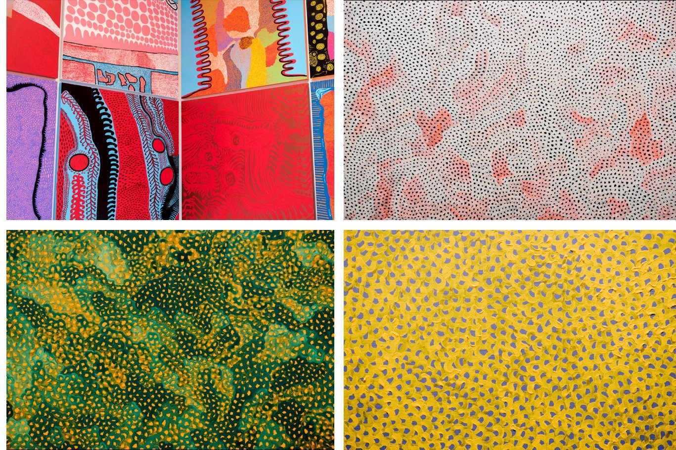 Details of Kusama's paintings